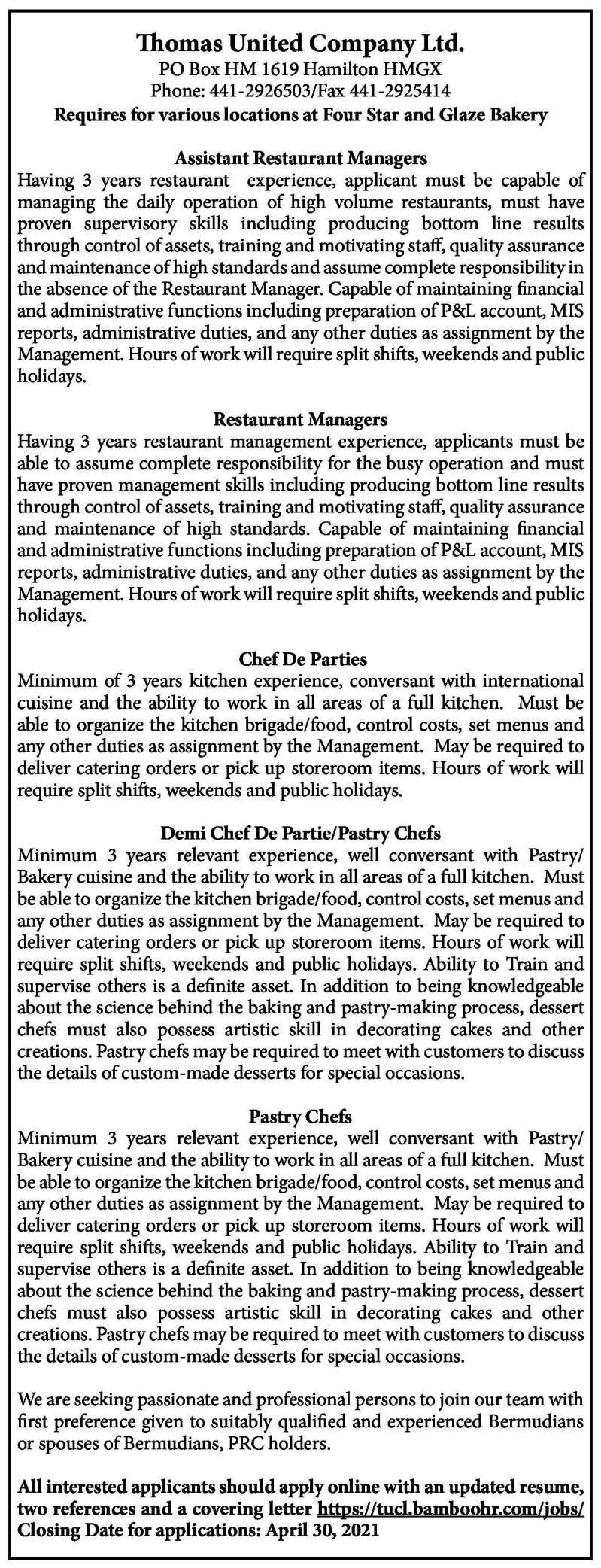 Assistant Restaurant Managers Restaurant Managers Chef De Parties Demi Chef De Partie Pastry Chefs Pastry Chefs The Royal Gazette Bermuda News Business Sports Events Amp Community