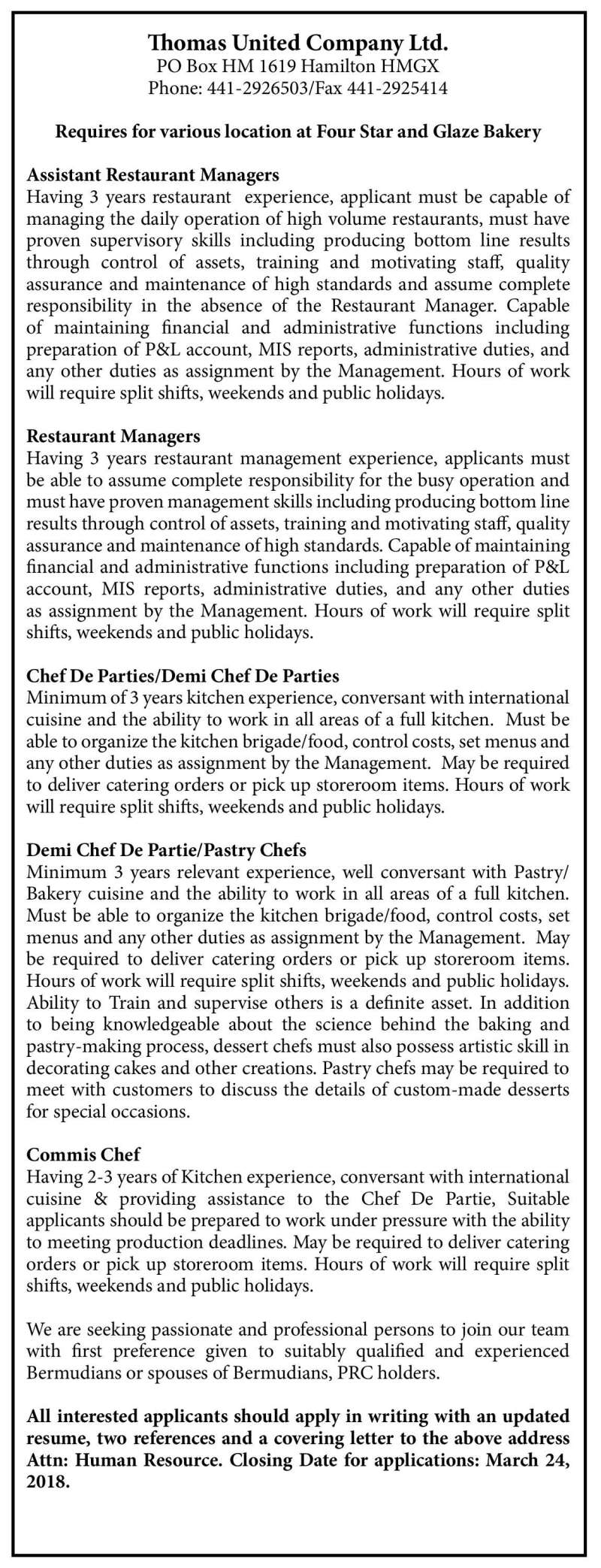 Assistant Managers Restaurant Managers Chef De Parties Demi Chef De Parties Demi Chef De Partie Pastry Chefs Commis Chef The Royal Gazette Bermuda News Business Sports Events Amp Community